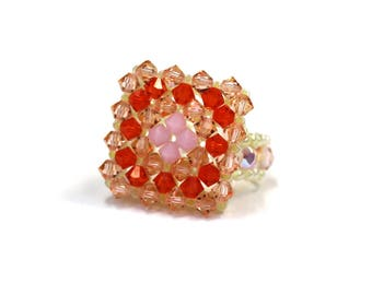 Orange Swarovski Crystal and Pearl elastic one size - ring