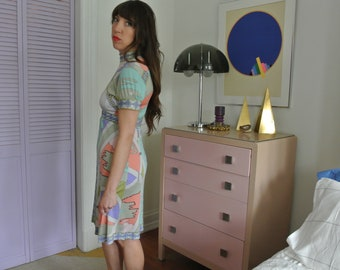 Vintage 1960's Averardo Bessi signature print Silk Jersey Dress psychedelic Pucci Esque Small Mod Midi Knee Length