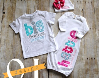 Big Brother Little Sister Personalized Baby Boy Newborn Gift Set- Pink, Aqua/Teal and Gray - Infant Gown and Hat