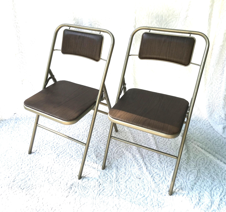 Pair of Samsonite Metal Folding Chairs Padded Metal Folding
