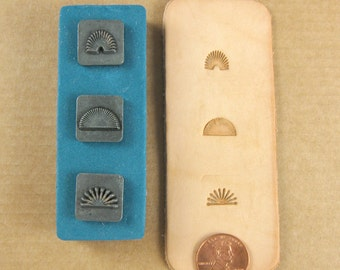 """1/2"""" Bursts Ornamental Stamps by Melody Ross / Set of 3 / Use On Chipboard And Leather"""