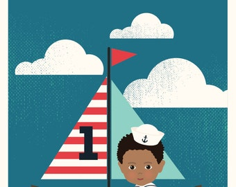 5X7 Children's birthday invitations features nautical theme and custom illustration of your child