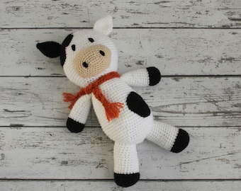 Annie the Cow, Crochet Cow Stuffed Animal, Cow Amigurumi, Plush Animal, MADE TO ORDER