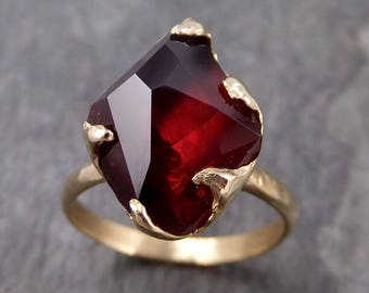 Partially faceted Natural Pink Garnet Gemstone solitaire ring Recycled 14k Gold One of a kind Gemstone ring 0972