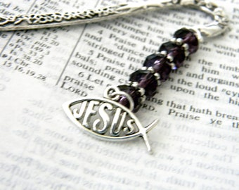 Jesus Fish Bookmark with Purple Glass Beads Silver Color Shepherd Hook Christian Bookmark