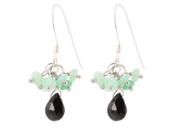 Black onyx and soft green chalcedony dangle drop earrings