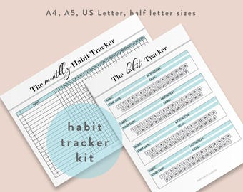 Habit Tracker Files Printable Habits Tracking List Monthly Daily Weekly Letter PDF Checklist Print Instant Download Template