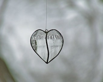 Transparent Glass Heart from Newcastle Brown Ale bottle Mothers Day Gift Ornament