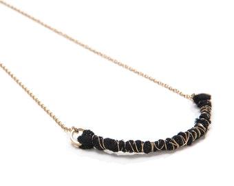 Black line necklace, textile necklace, eco jewelry, handmade necklace, statement necklace