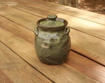 Rustic Green Lidded Jar Sugar Bowl NC Pottery