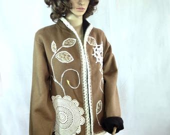 Wool winter cardigan sweater brown jacket bolero caplet poncho coat recycled clothing altered couture refashioned