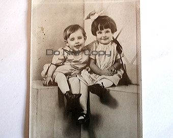 Vintage Children Photo, Antique Photo, Smiling Happy Children, Brother and Sister, Sepia Toned Photo, Toddler Photo, 4 x 6