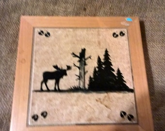 Handmade Countertop Tile Coaster Wall Hanger Decorative Wildlife Art