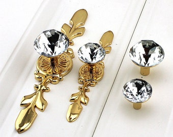 Crystal Knobs / Clear Crystal Knob / Drawer Knobs / Dresser Pulls Handles / Cabinet Knob Sparkly Furniture Decorative Knobs Hardware   A06