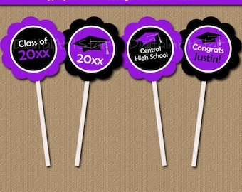 EDITABLE Graduation Cupcake Topper Template - Graduation Party Decorations - Printable Graduation Cupcake Picks - Instant Download Tags G1