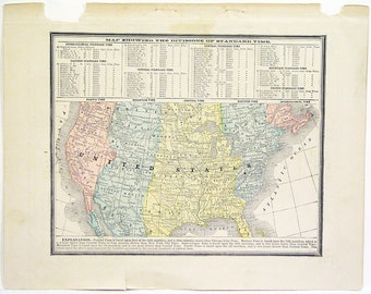 Original 1890s Color Atlas Map of The United States by George F. Cram Color Map Showing Time Divisions of The United States Of America