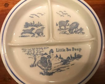 Little  Bo Peep, Vitock Antique Devided Childs Plate, by3SisterzJewlery