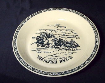 Currier and Ives Pie Plate Baking Dish Vintage Royal USA Blue White The Sleigh Ride