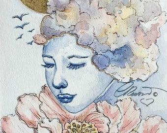 Watercolor portrait, Summer Skies - Limited Edition Signed Print, 8x10 Ink Illustration, Fine Art Print, Hand Embellished, Gold, Fantasy Art