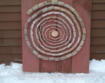RUSTIC WALL DECOR -- Red Spiral