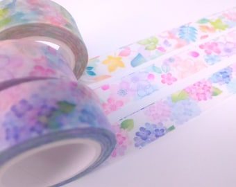 Colorful flower washi tape sample (3 designs each 100cm)