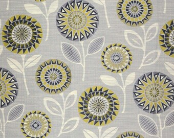 Partridge Graphite Suzani Floral Grey Yellow Upholstery Fabric
