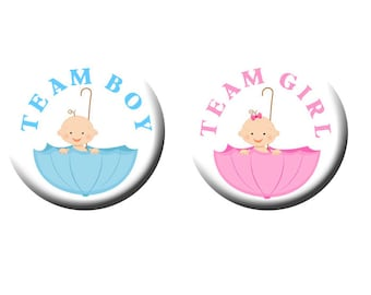 Gender Reveal Party Favors 1 inch Pinback Buttons or 1 inch Flatback Button Pink and Blue Umbrella Babies