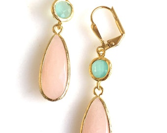 Earrings Peach and Aqua Bridesmaids Earrings. Peach Dangle Earrings. Wedding Jewelry. Gift for Her. Bridal Party Jewelry. Drop Earrings.