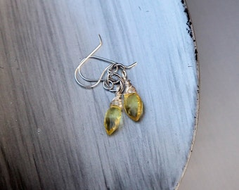 Yellow Lemon Quartz, Sterling Silver, Marquise Briolette Drop Earrings