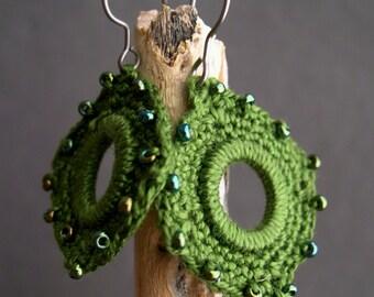 Olive Green Crochet Earrings - Lace Fashion earrings - Indian Style Earrings - Boho Chic - Original unique earrings