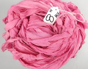 Chiffon Sari ribbon, pink sari ribbon, Wine chiffon ribbon, weaving supply, jewelry supply, tassel supply, spinning supply, pink sari ribbon