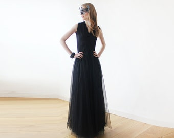 Black sleeveless maxi tulle gown , Black maxi tulle gown 1076