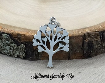 Tree With Hearts Charm, Tree of Love Pendant, Tree of Life Charm, Family Tree Pendant, Family Tree Charm, Sterling Silver, PS01469