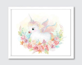 Unicorn Nursery Print, Unicorn Girl Nursery, Unicorn Gift Ideas, Watercolor Unicorn Print Art, Unicorn Wall Art, Unicorn Baby Gifts