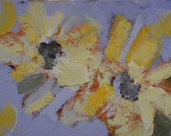 flower painting, small original oil, 4x6, unframed