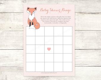 fox baby shower bingo game card printable baby girl fox DIY pink woodland bingo card cute baby shower digital games - INSTANT DOWNLOAD