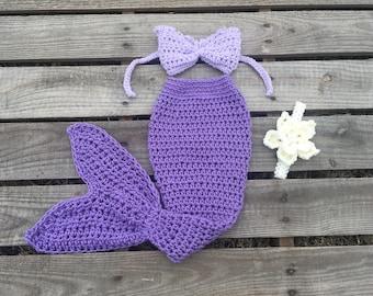 Mermaid Tail Photo Prop, Baby Mermaid Tail, mermaid fin, mermaid blanket, purple mermaid tail, mermaid costume