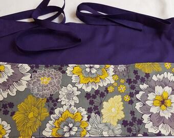 Yellow and Purple Floral Waitress/Teacher/Vendor/Server/Half/3 Pocket Apron