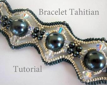 PDF beaded bracelet tutorial_beadweaving_seed bead_pearl_Tahitian
