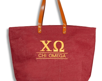 XO Chi Omega Monogrammed Sorority Jute Line Tote