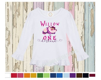 One-derland First birthday Alice in Wonderland Long Sleeve Birthday Girl Boutique Ruffle Shirt - Personalize any name, any age