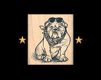 BULLDOG Rubber Stamp, Dog Rubber Stamp, Bulldog Gift, Bulldog Art, Bulldog Stamp, Bulldog Scarf, Bulldog Party Favor, Bulldog Sunglasses