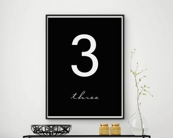 Number Three Print, Numeral Print, Numeral 3 Art, Number 3 Wall Art, Scandinavian Print, Number 3 Poster, Number Decor