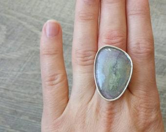 Onyx agate watercolor druzy silver women ring 6 1/2 us / 16,75 eu ready to ship