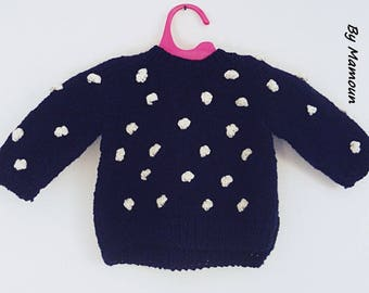 Baby sweater (3 months) hand knitted: Navy Blue and his white Bobbles