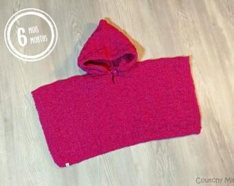 Baby knit poncho baby knit baby knit girl baby gift baby shower gift newborn gift pink baby poncho baby girl clothes baby girl