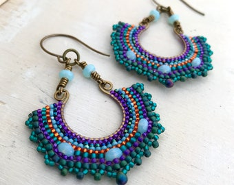 Byzantine brass earrings, seed bead jewelry in jewel tones