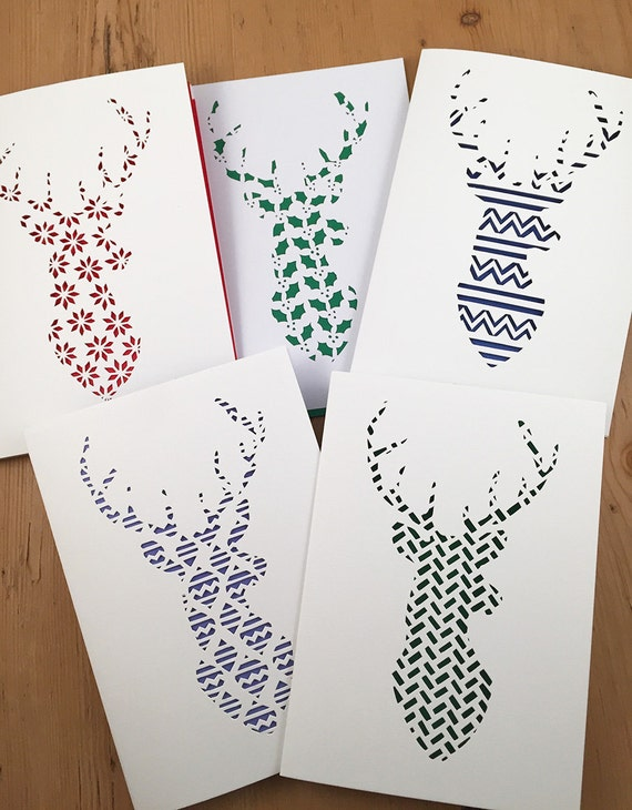 Papercut Christmas Templates pack Reindeer Stag card designs ...