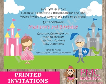 Custom Printed Princess and Knight Birthday Invitations - 1.00 each with envelopes