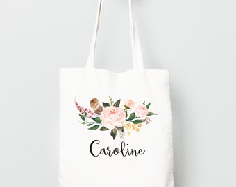 Personalized Canvas Tote Bag, Boho Watercolor Flowers